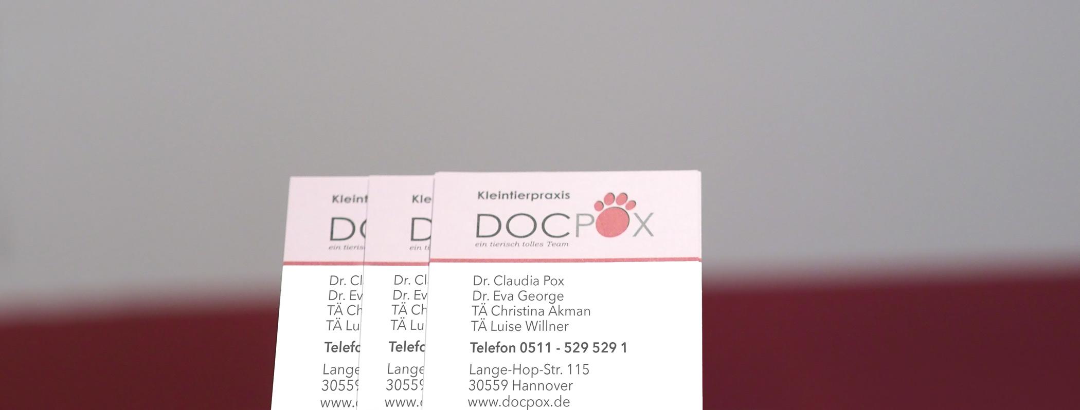 Visitenkarten der Kleintierpraxis DocPox